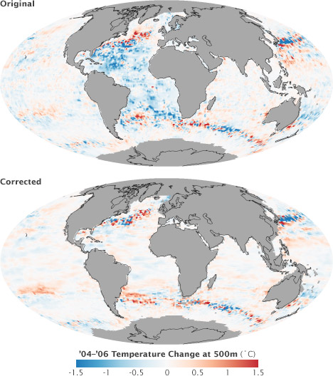Maps of 2004 through 2006 ocean temperature change at a depth of 500 meters comparing corrected to uncorrected data.
