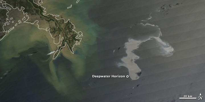 Satellite image of Deepwater Horizon oil spill, April 25, 2010.
