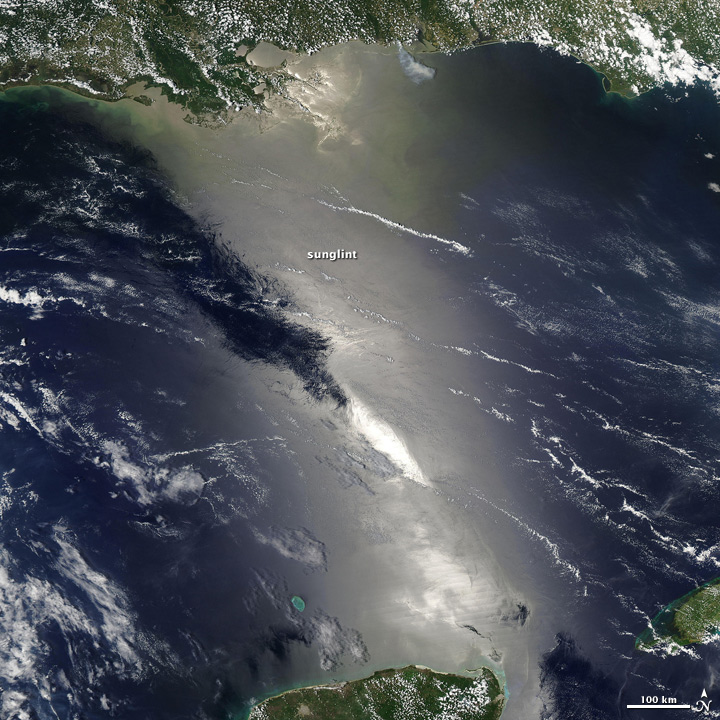 Satellite image of sunglint in the Gulf of Mexico, June 23, 2009.