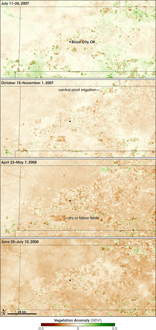 Maps of vegetation anomaly in the Oklahoma Panhandle during 2007 and 2008.