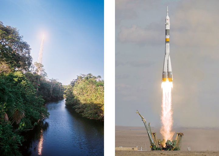Photographs of an Ariane 5 launch from French Guiana and a Soyuz launch from kazakhstan.