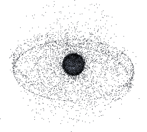 Illustration of space junk in Geosynchronous orbit.
