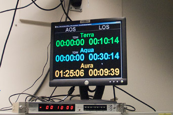 Photograph of the clock in the Aqua mission control room, NASA GSFC.