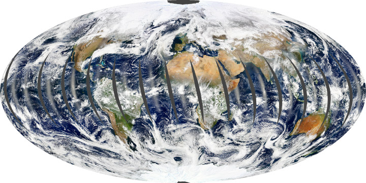 The Aqua satellite's global observations.