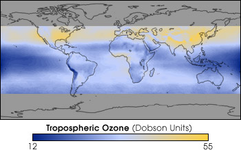 tropospheric ozone distribution map
