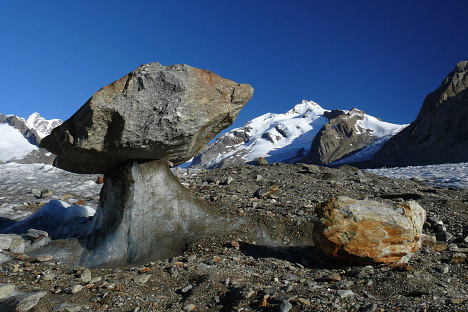 Photo of a glacier table on the Aletschglacier in Switzerland.