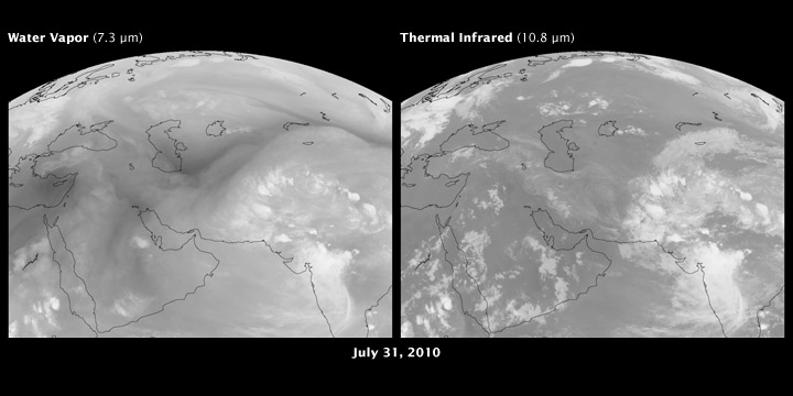 Satellite images of water vapor and clouds over Russia and Pakistan, July 31, 2010.