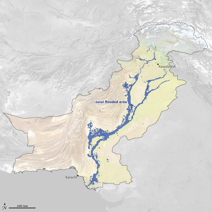 Map of the total extent of flooding in Pakistan during 2010.