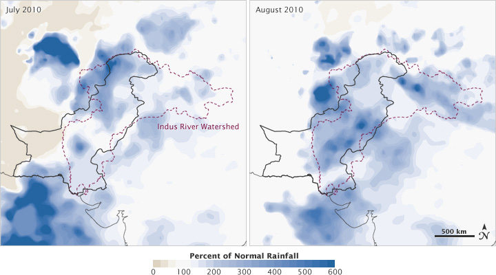 Maps of rainfall anomaly in Pakistan, July and August 2010.