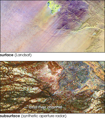 Remote sensing images of fossil rivers underneath the Sahara desert
