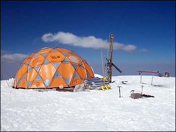 Photograph of ice core drilling station on the summit of Nevado Coropuna, Peru