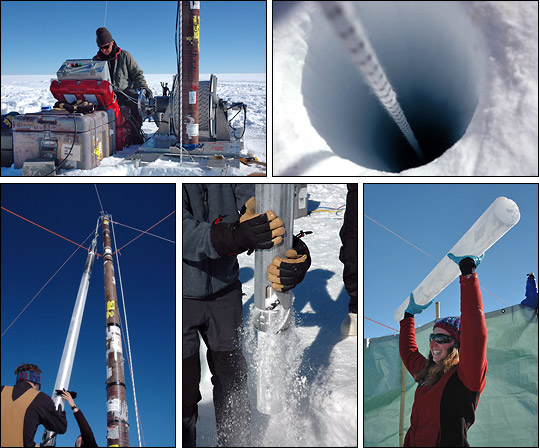 Five photographs showing ice core drilling on the Greenland summit