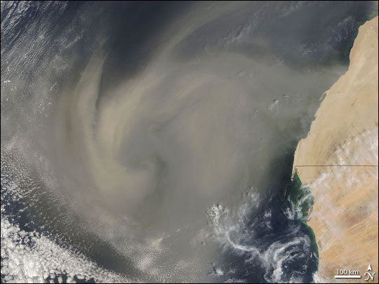 Satellite image of African dust blowing over the Atlantic