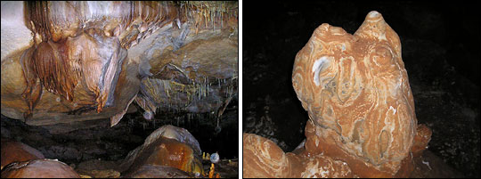 Photographs of dry (left) and wet (right) speleothems