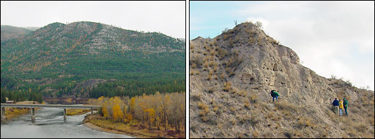 Photgraphs of fossil shorelines and ancient lake sediments from glacial Lake Missoula