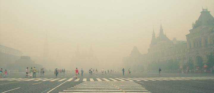 Photograph of smokey air filling Red Square, Summer 2010.