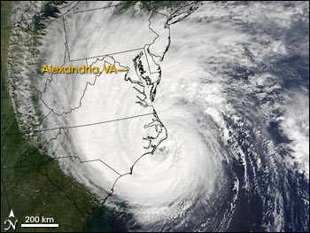 Satellite image of Hurricane Isabel approaching the East Coats