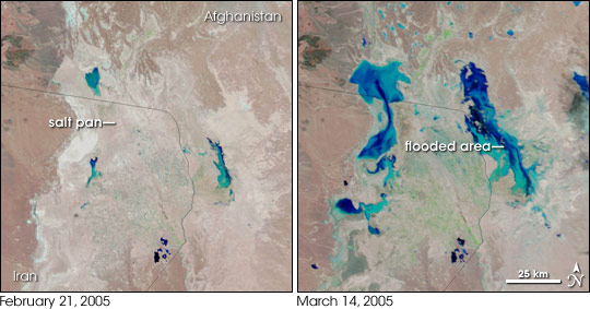 Satellite image pair showing flooding of salt pans in Afghanistan and Iran