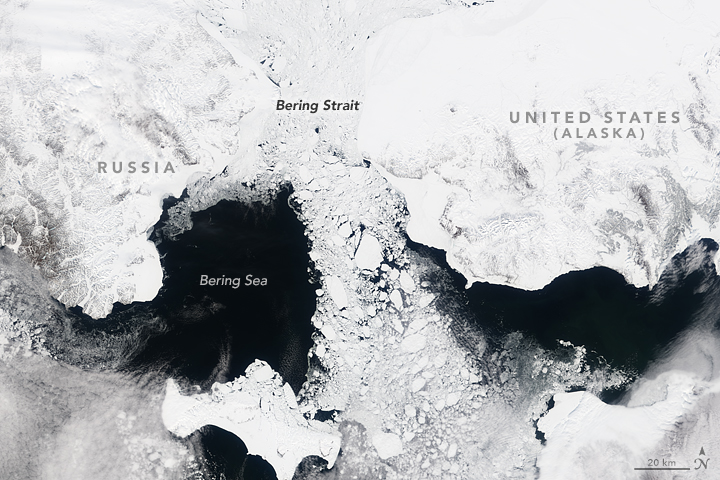 Satellite image of sea ice streaming through the Bering Strait on May 7, 2000.