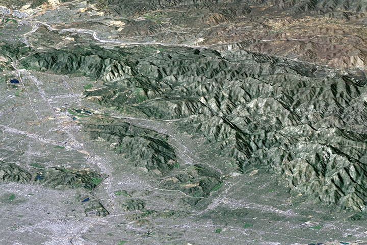 Topographic view of greater Los Angeles derived from SRTM data.