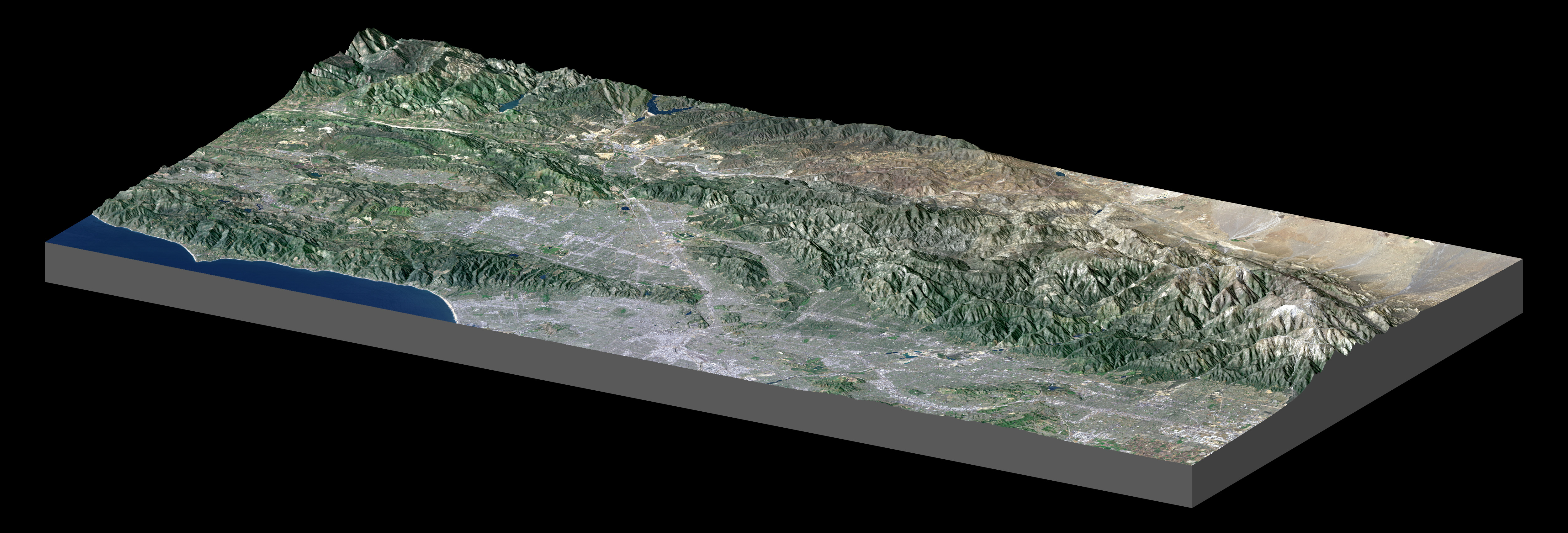 Every flight is a mission to planet earth topographic view of greater los angeles derived from srtm data global map gumiabroncs Images