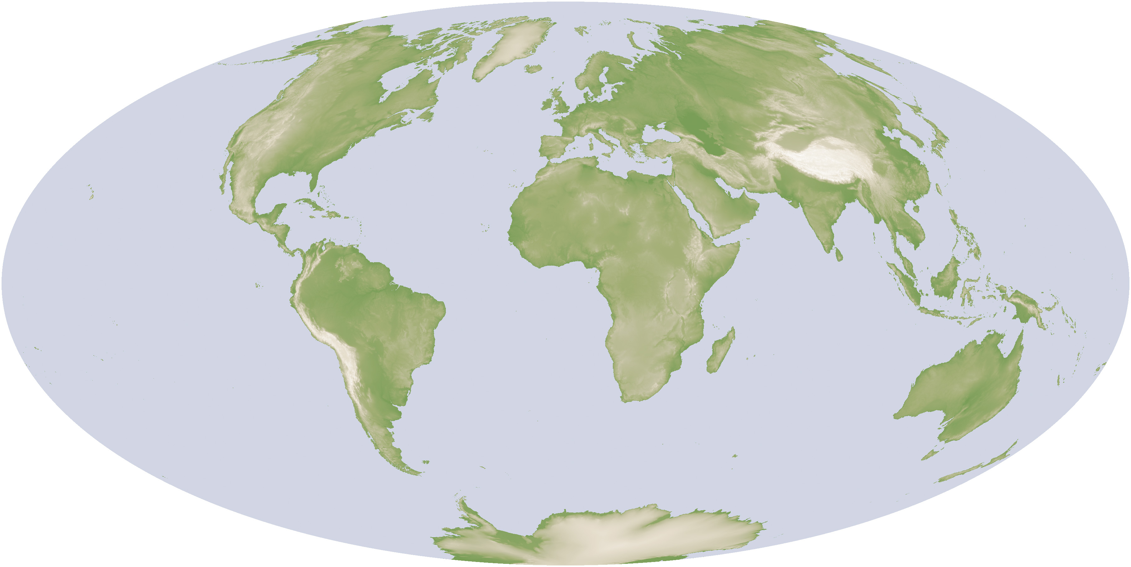 global map of elevation derived from srtm data