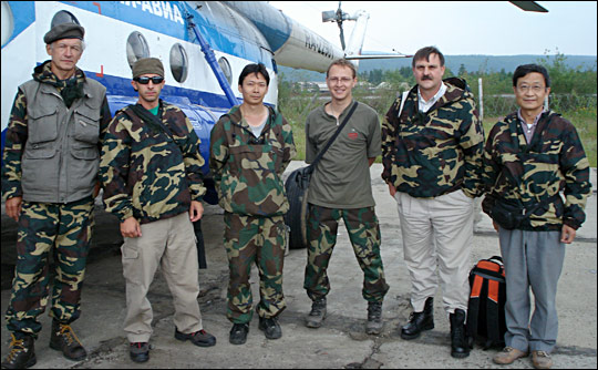 Photograph of the team as they're about to depart from Tura, Russia, July 28, 2007.