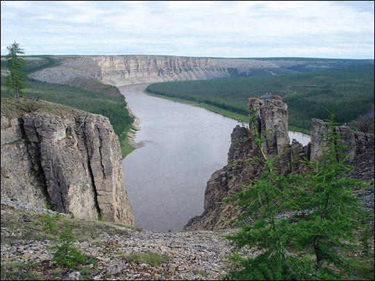 Photograph of cliffs above the Kotuy River.
