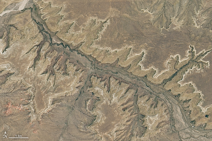 A satellite image near Chaco Culture National Historical Park.