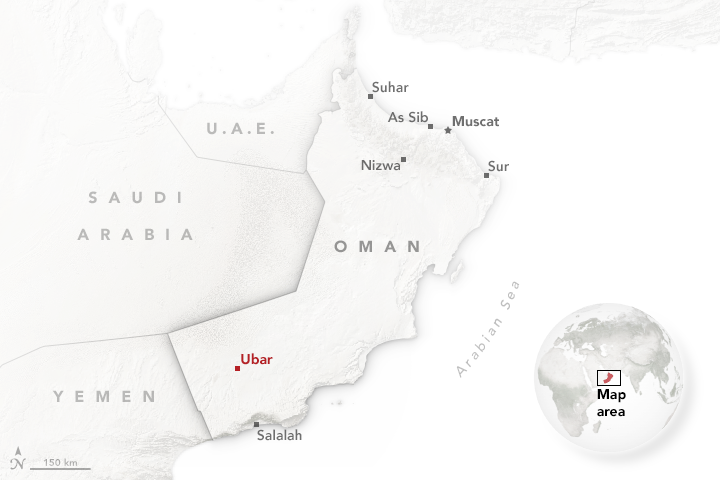 Map showing the location of Ubar within Oman.
