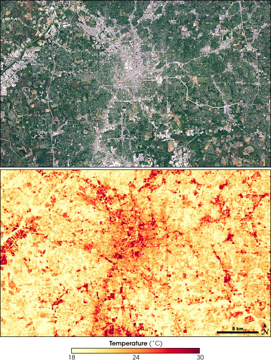 Pair of satellite image showing the Atlanta metropolitan area and temperature on a summer day.