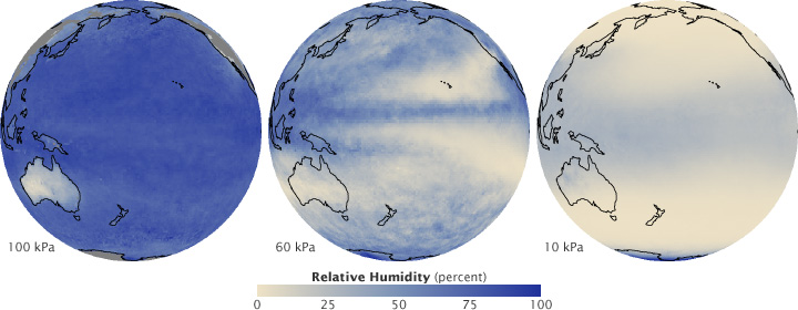 Maps of relative humidity in the atmosphere measured by AIRS.