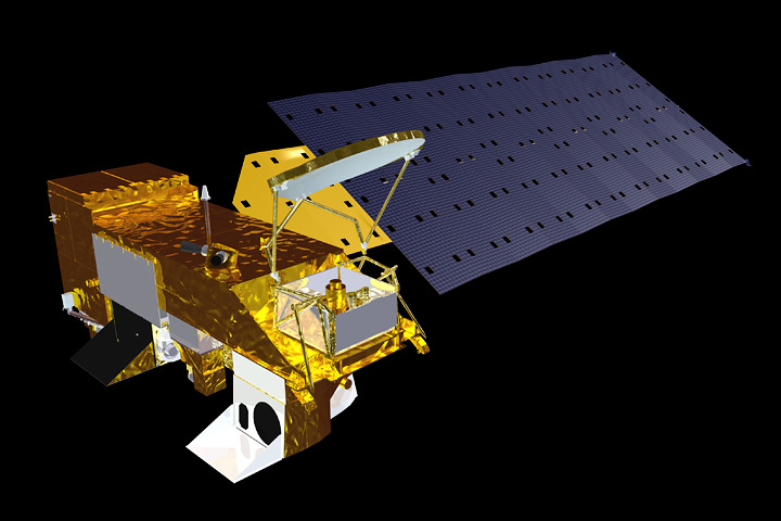 Artist's rendition of the Aqua satellite.