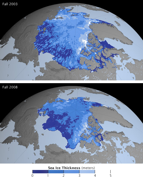 Maps of Arcitc sea ice thickness in 2003 and 2008.