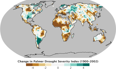 Map of the trend of the Palmer Drought Index from 1900 through 2002.