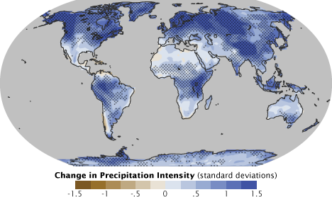 Map of modeled precipitation intensity change.