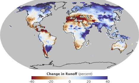 Map of predicted changes in runoff for 2084.