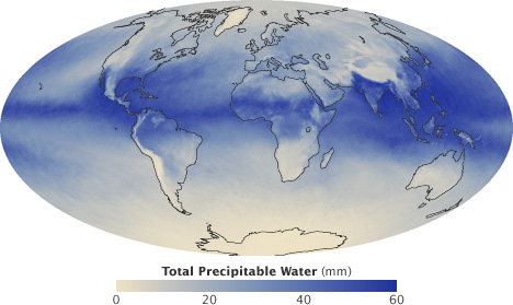 Map of total precipitable water for August 2010.
