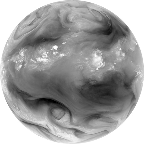 Satellite (METEOSAT) image of water vapor in the atmosphere.