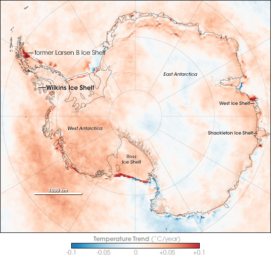 Map of temperature trends in Antarctica, 1981 through 2007.