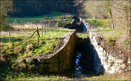 Photograph of the abandoned locks on the Somerset Coal Canal.