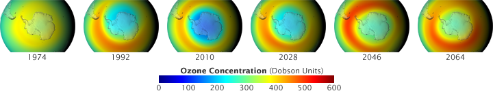 Maps showing recovery of the ozone hole.