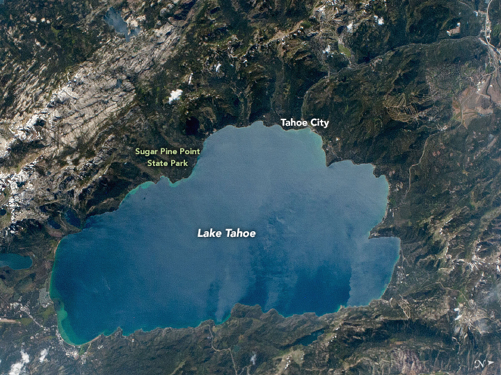 A photograph of Lake Tahoe from the International Space Station.