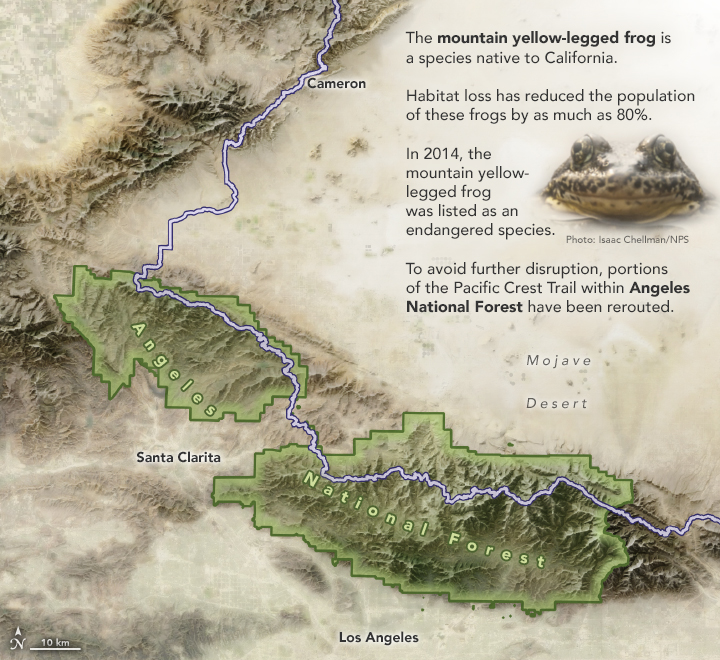 A map of Angeles National Forest and the Pacific Crest Trail from Cameron to east of Los Angeles.