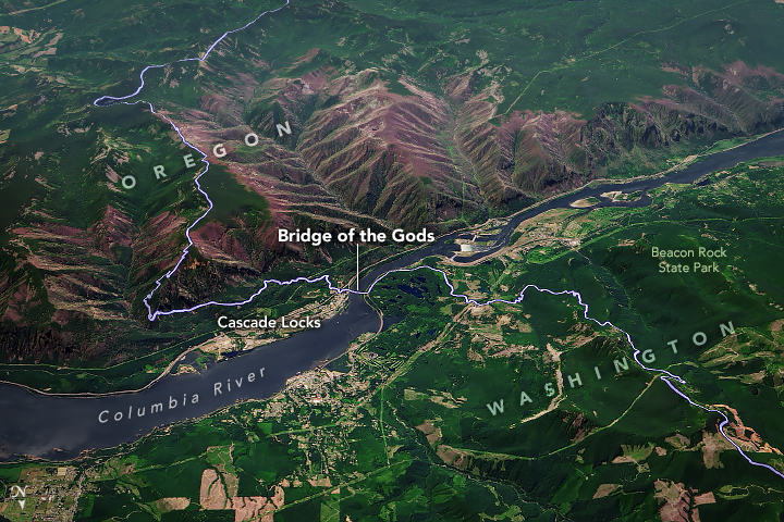 A satellite image of the Bridge of the Gods and Columbia River at the Washington/Oregon border.