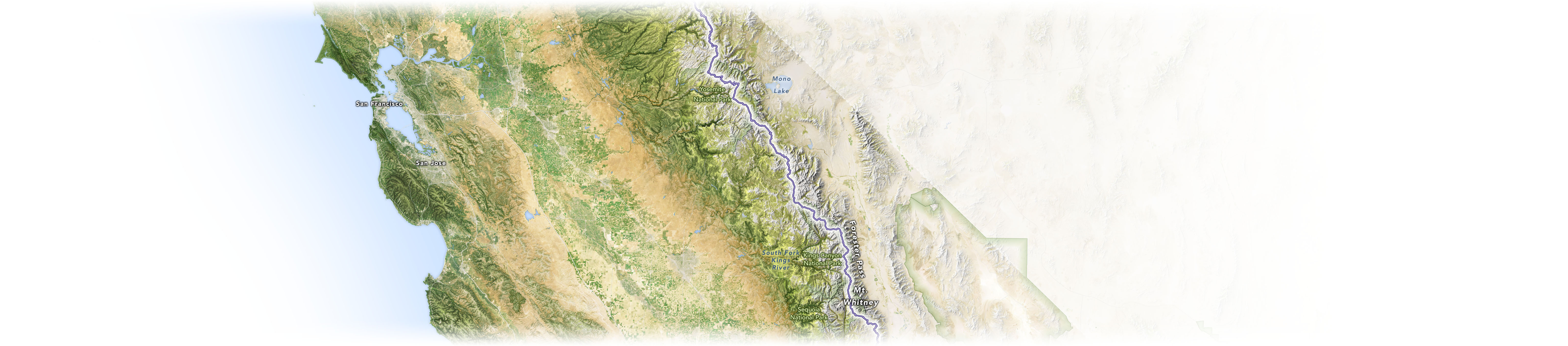 A map of the Pacific Crest Trail and nearby landmarks in central California.