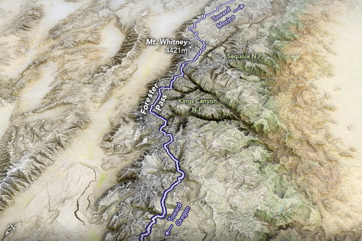 A satellite image of the Pacific Crest Trail and Forester Pass.
