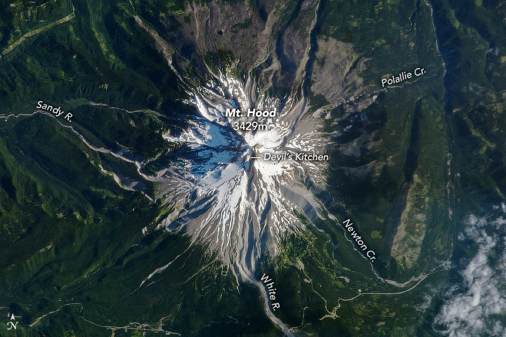 A photograph of Mt. Hood taken from the International Space Station.