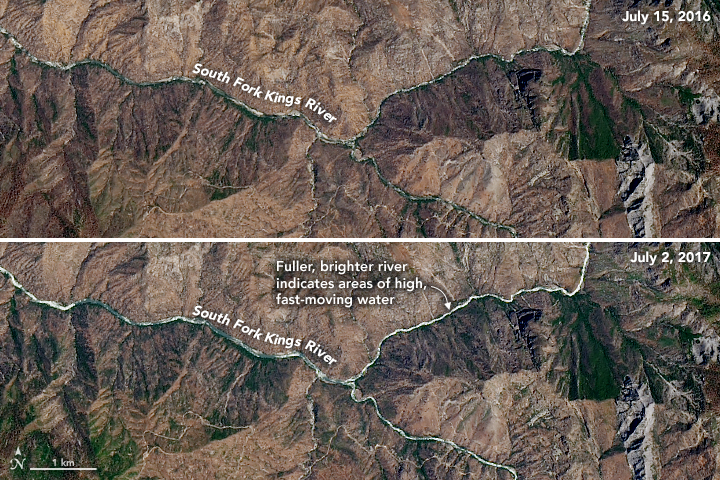 A pair of satellite images comparing water levels at the South Fork Kings River in 2016 and 2017.