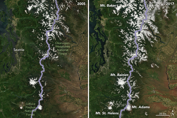 A pair of satellite images comparing snowfall in northern Washington between 2005 and 2017.